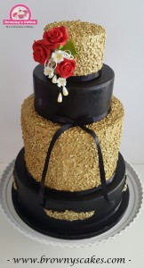 Bruiloft taart zwart & goud- wedding cake black and gold