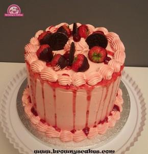 Aardbei drizzle taart