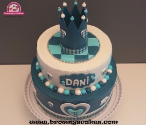Blauw & wit kroon taart