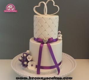 Bruiloft taart paarse bloemen - wedding cake