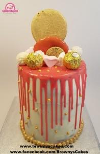 Gold & Pink Drip Cake